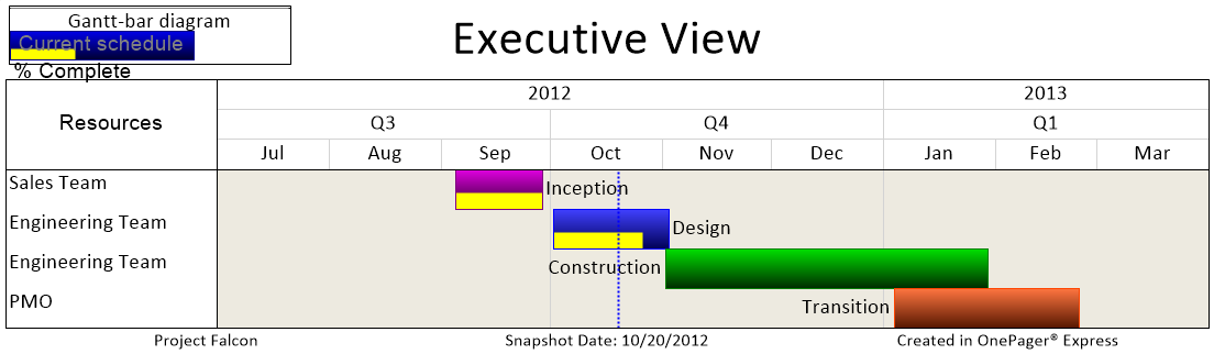 Sample project chart for executives