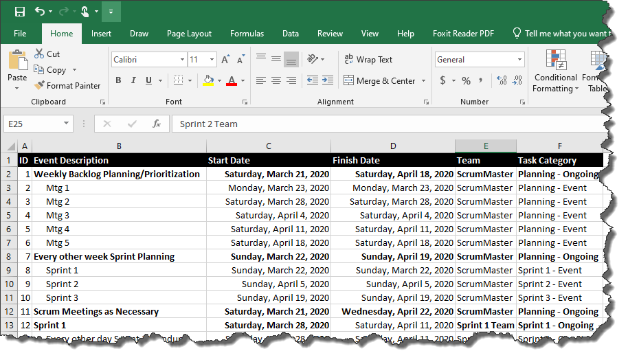 start by opening your agile task list in microsoft excel