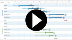 Video of a multi-project Gantt chart created in OnePager